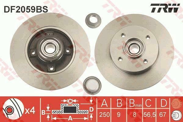 BRAKE DISC WITH BEARING TRW AUTOMOTIVE DF2059BS